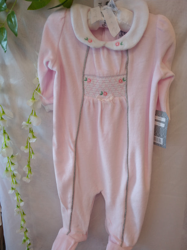 Pink Velour All-in-One with Smocking and Silver Trim