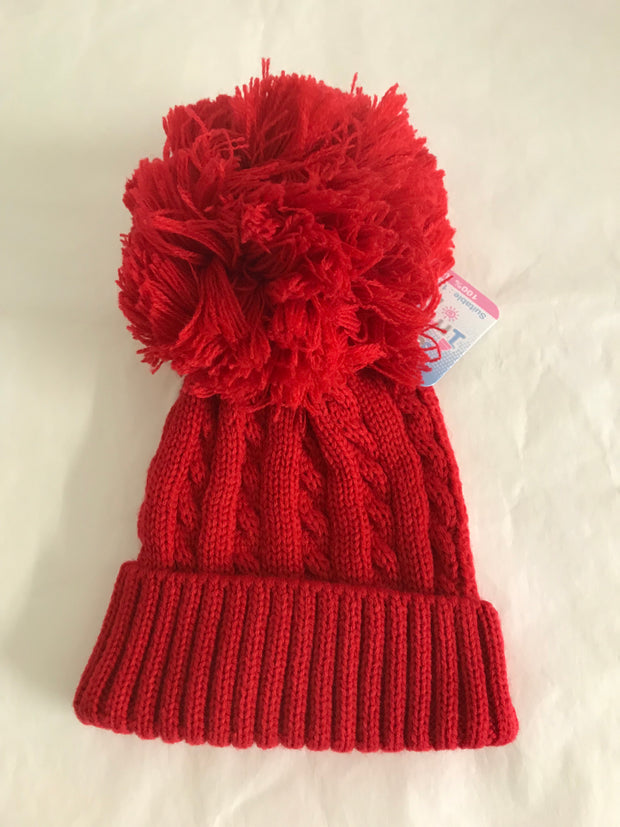 Red Cable Knit Pom Pom Hat.  Will keep baby's ears lovely and warm in winter!