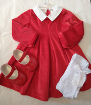 Red Velour Dress with Detachable White Collar