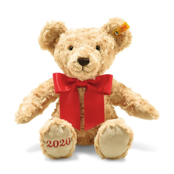 Perfect gift for baby born in 2020!  The Teddy bear has been a favourite toy for many generations, providing love, security and comfort, a loyal companion watching over the little ones as they sleep!  Cosy Year Bear 2020 is 34 cm in size and is made of soft and cuddly beige-coloured plush fabric. His nose and mouth are decorated in gorgeous brown. The right sole features the year 2020 in embroidery. As a Year bear, he is wearing a festive red bow that cannot be removed.