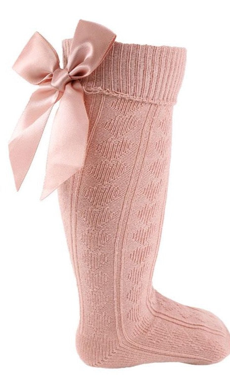 Heart Knee Socks with Bow in Rose Pink