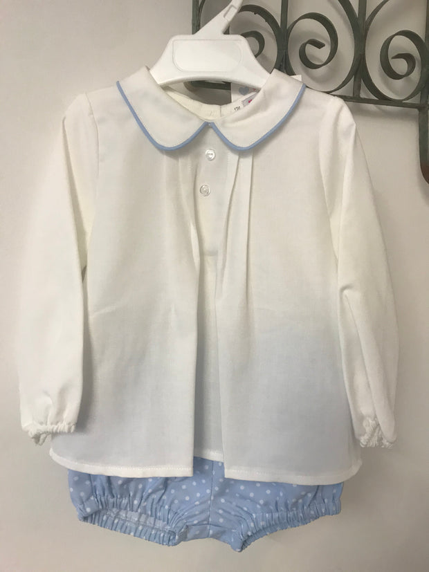 Spanish Cotton Pleat Shirt and Sky Blue Spotted Shorts Set