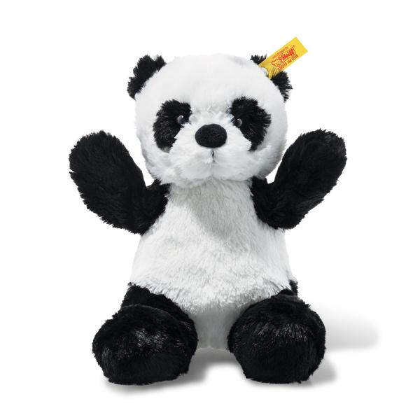 From far-away and exotic China, directly to your home – give our Ming Panda from the Soft Cuddly Friends family a hearty welcome! Just like in the wild, he has a white coat with black spots and is awaiting the chance to play and cuddle with your child and watch over your child at night! He has bean bags to his bottom, paws and soles, making gripping and cuddling a fun experience for children!  Machine washable at 30° C, gentle wash, do not bleach, do not tumble dry, do not iron, do not dry clean.