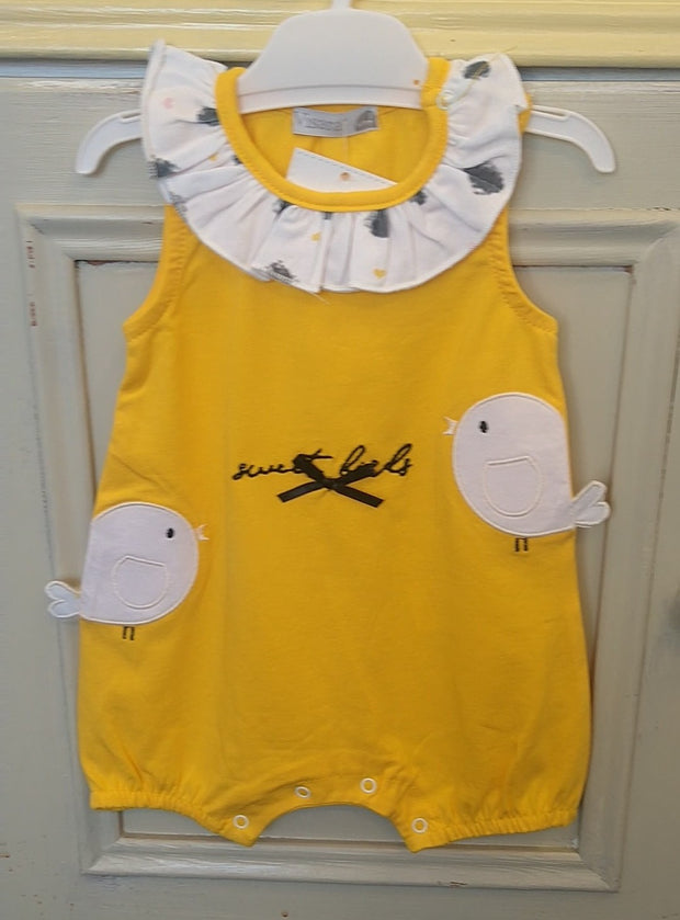 Sunshine Yellow Sweet Birds Romper