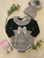 Gorgeous in green and grey!  Green knitted and grey check romper, with grey check collar and matching grey satin bow. Button fastenings to legs and back.   Looks lovely with either grey tights or grey socks!