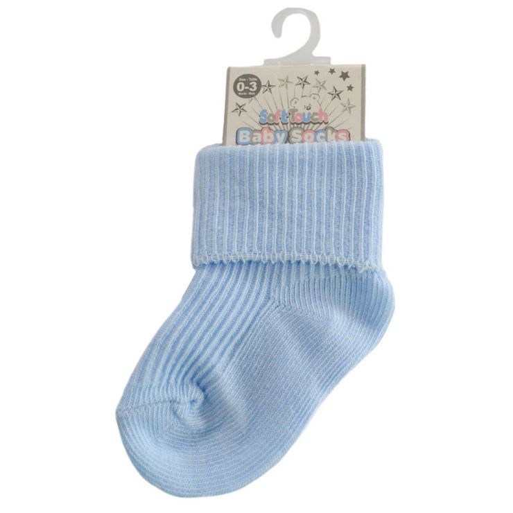 Cotton rich turn down sock.  Available in white, pink and blue.