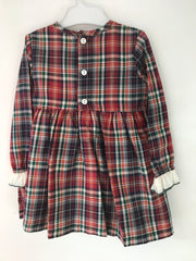 Spanish long sleeved tartan dress with white frill and green bow to front. Buttons to back, and has a lined skirt.   Lovely dress for parties, or even everyday wear!