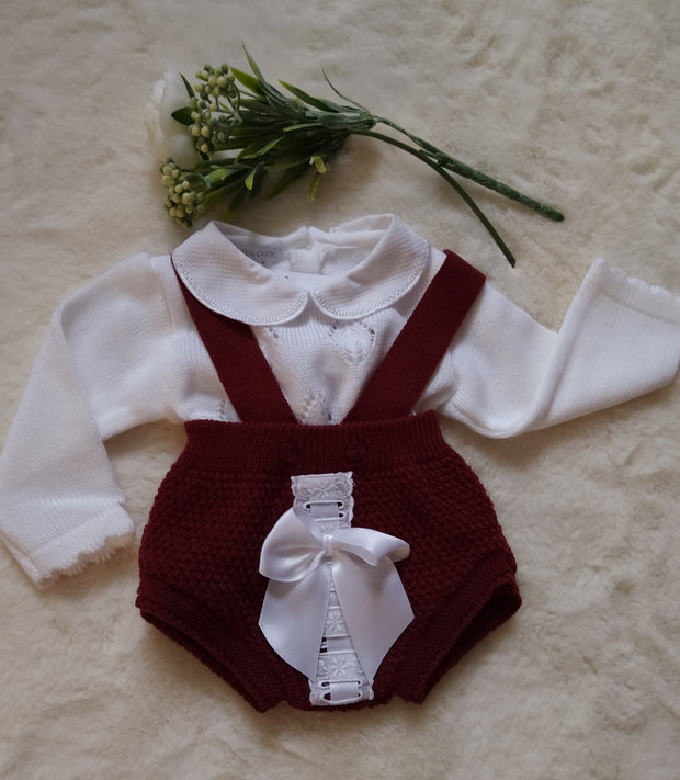 Knitted Lace and Bow Jam Pant Set