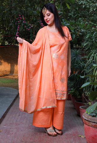 Peach Bandhej Print Cotton Palazzo Suit Set