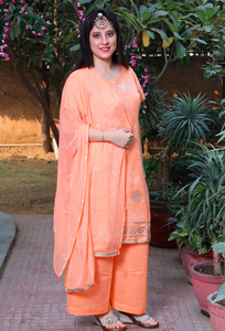 Peach Bandhej Print Cotton Plazzo Suit Set