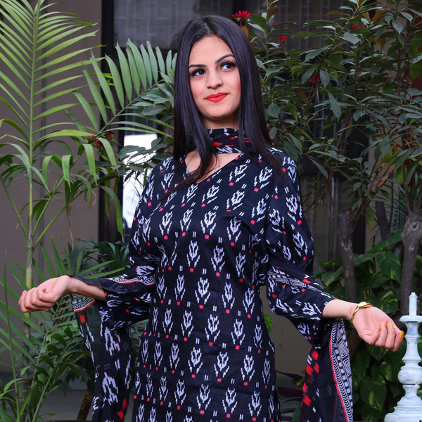 Black Ethnic Print Cotton Suit Set