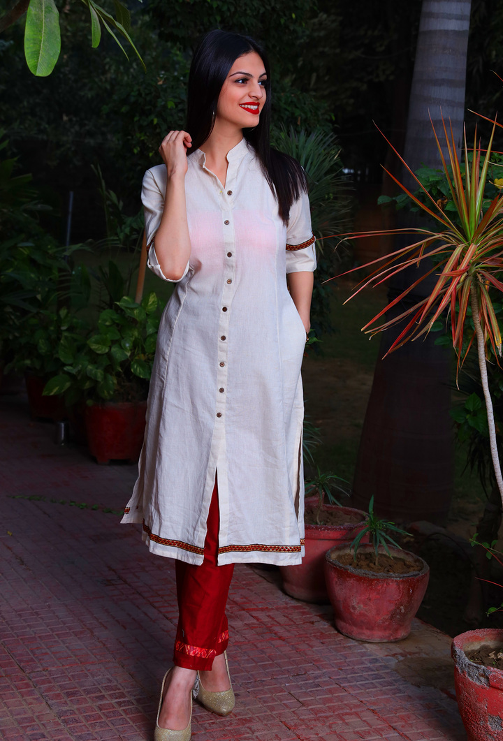 Ivory And Red Khadi Cotton Kurta Set