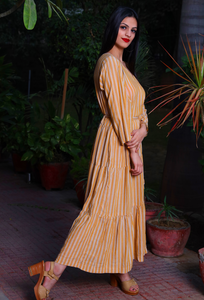 Mustard Cottonstriped Tier Dress