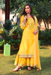 Yellow Mirrorwork Sharara Suit Set