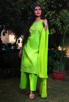 Parrot Green Check Palazzo Suit Set