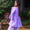Mauve Jaipuri Print Gharara And Peplum Short Kurta Set