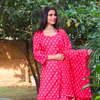 Bright Pink And White Cotton Chikan Plazzo Suit Set