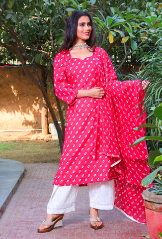 Bright Pink And White Cotton Chikan Palazzo Suit Set