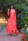 Coral Peach Chikan And Gota Cotton Suit Set