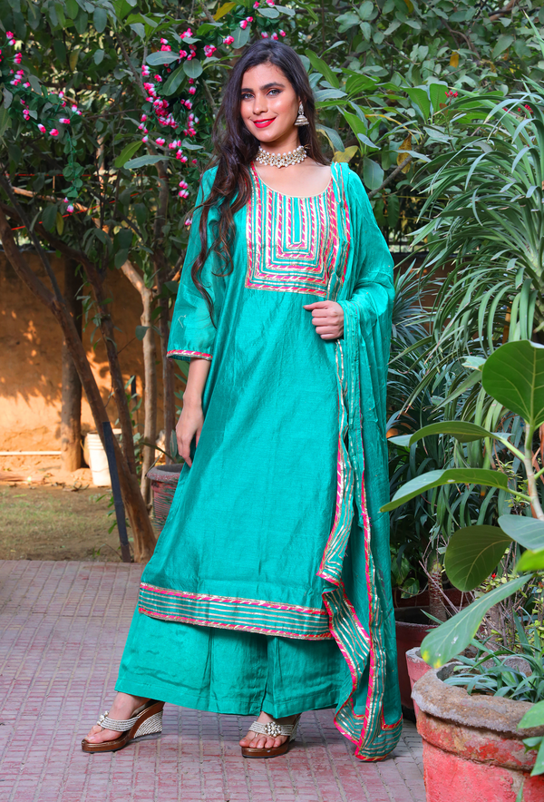 Teal Chanderi Cotton Gota Suit Set