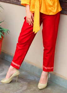 Brick Red Traditional Cotton Trousers - Baandhani Clothing