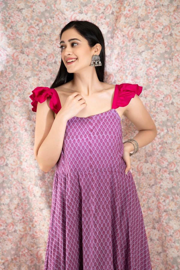 Mauve Printed Tiered Dress - Baandhani Clothing