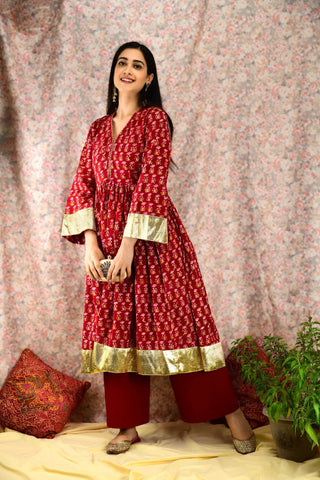 Red and Gold flared Suit Set