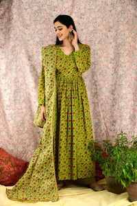Green printed Angrakha Suit set - Baandhani Clothing