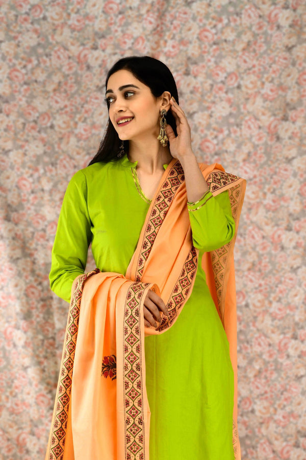 Green & Peach Cotton Suit Set - Baandhani Clothing
