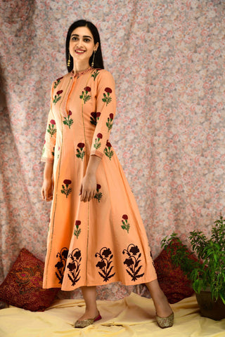 Peach Floral kalidar Dress