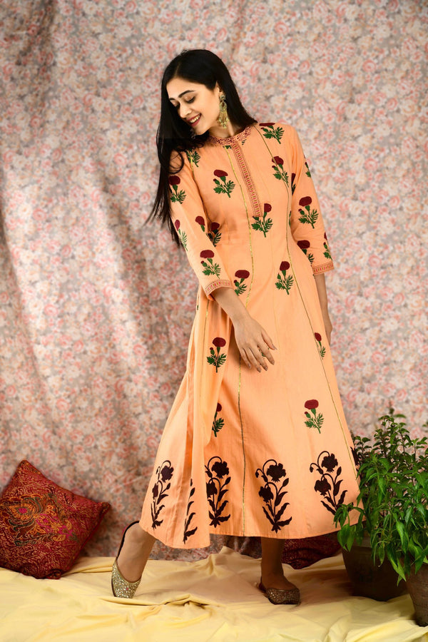 Peach Floral kalidar Dress - Baandhani Clothing
