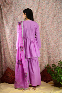 Mauve Cotton Kedia Sharara Set - Baandhani Clothing