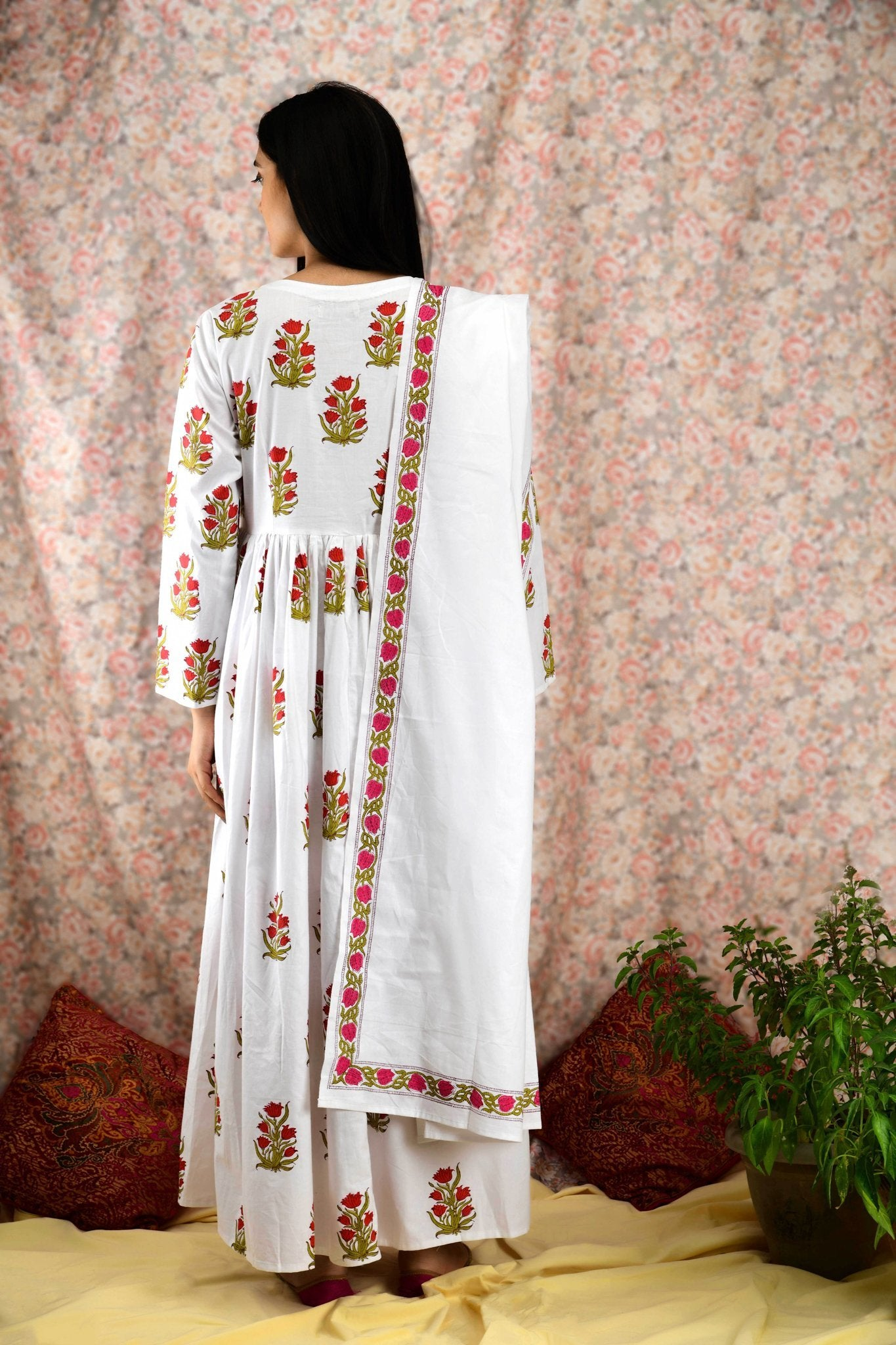 White Floral Flared Kurta Set