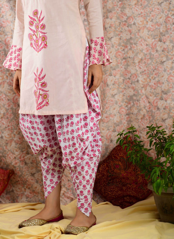 Peach Mughal Dhoti Kurta Set - Baandhani Clothing