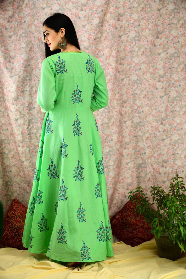 Green printed Kurta Set - Baandhani Clothing