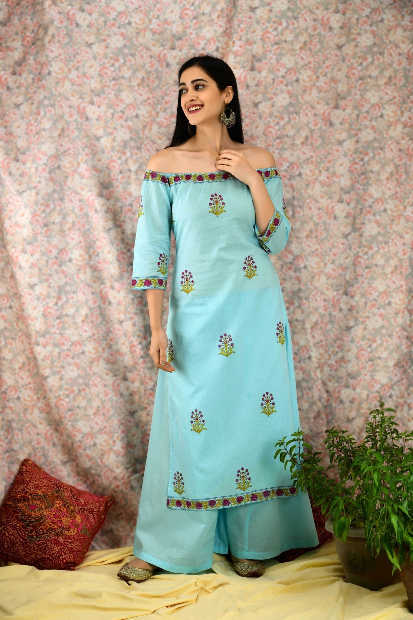 Cool Blue Off Shoulder Kurta Set