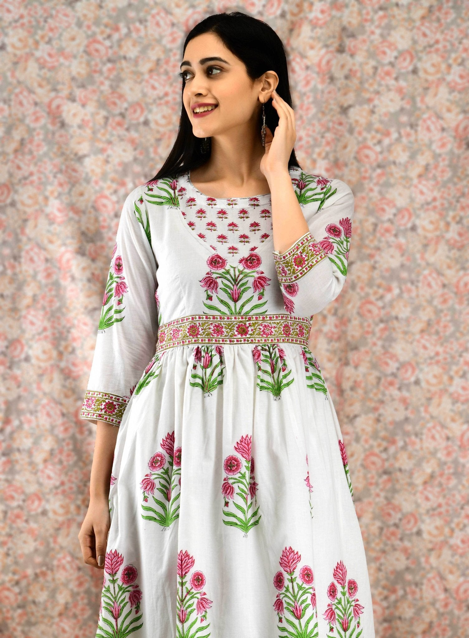 White Floral Kurta Set