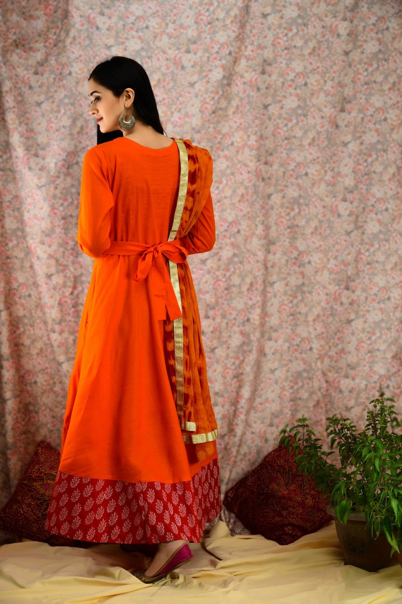Orange & Red Belted Kurta Set