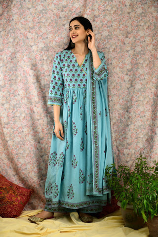 Cool Blue Printed Angrakha Suit Set