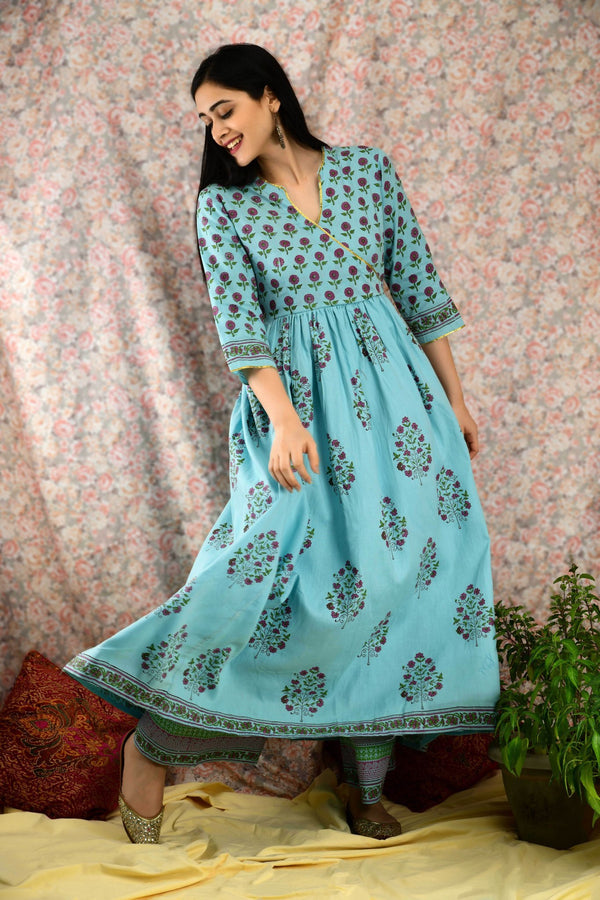 Cool Blue Printed Angrakha Suit Set - Baandhani Clothing