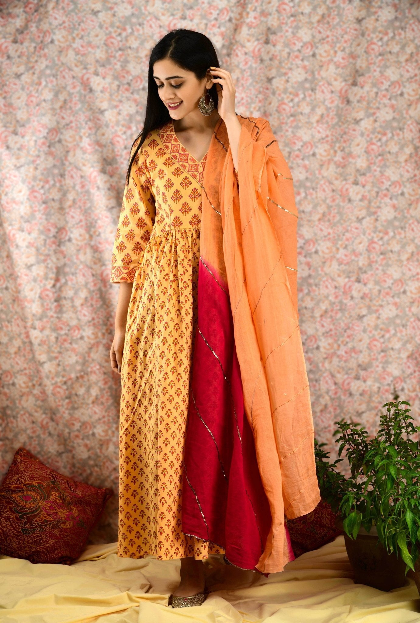 Peach Yellow Printed Flared Kurta Set