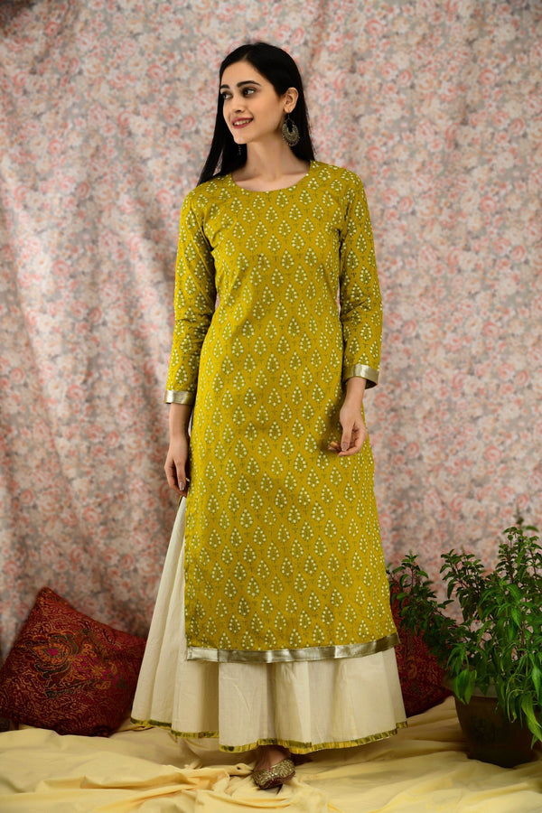 Olive Green Pearl Kurta Set - Baandhani Clothing