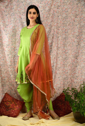 Green & Rust Dhoti Kurta Set