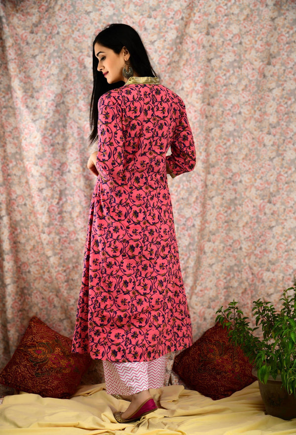 Rouge printed Gota Suit Set - Baandhani Clothing