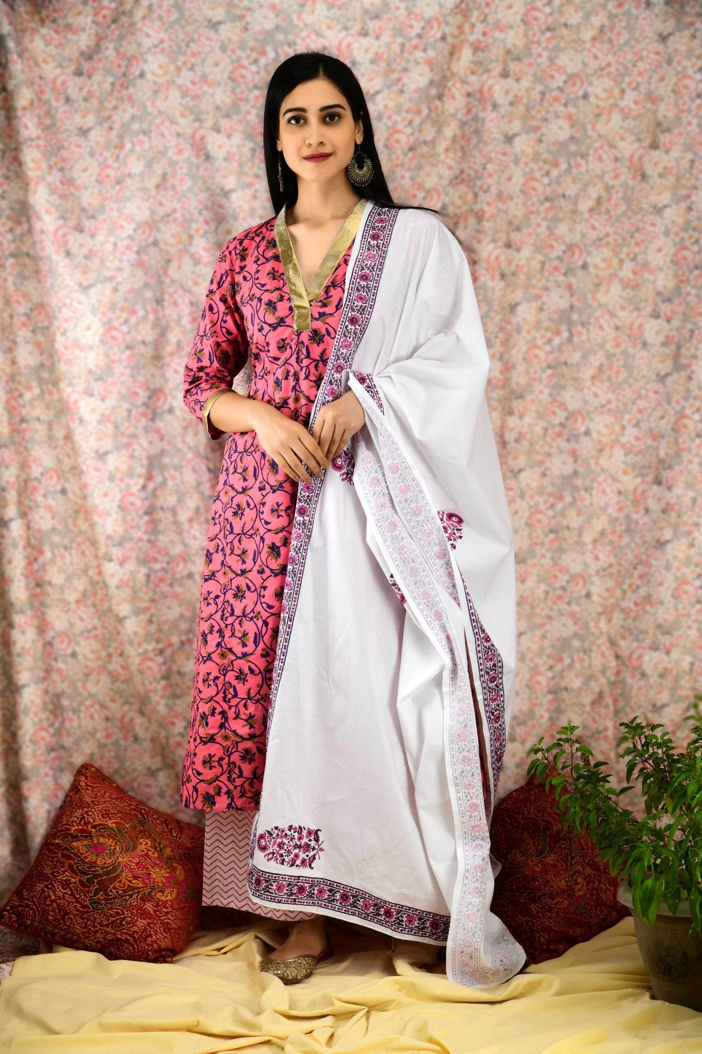 Rouge printed Gota Suit Set