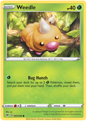 Weedle 1/185 Vivid Voltage Common Pokemon Card TCG Near Mint