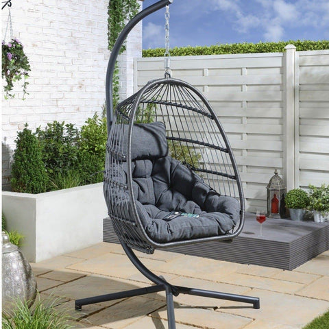 **PRE-ORDER - July Delivery** Holly Single Hanging Egg Chair Cocoon - Grey
