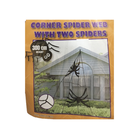 Corner Spider Web with Two Spiders 3m
