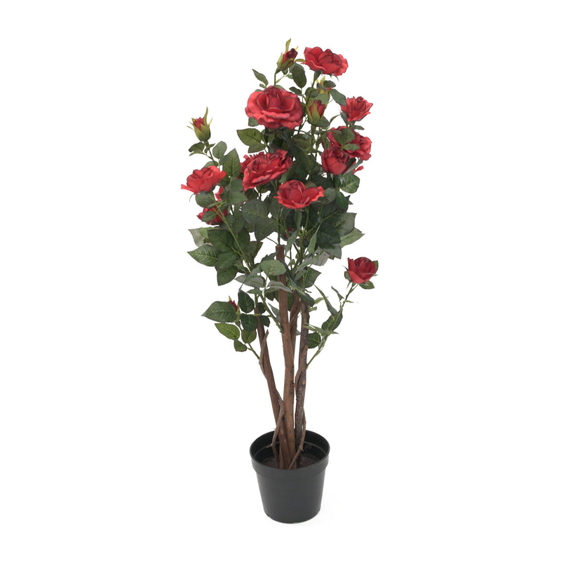 Artificial Multi-Stemmed Rose Tree - Red - 95cm