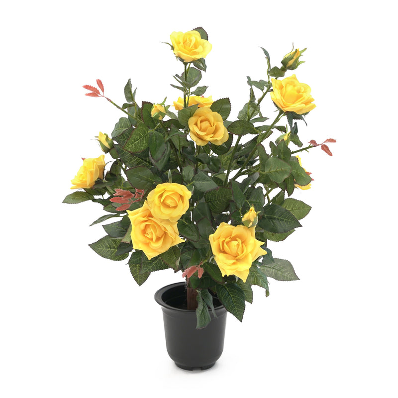 Artificial 55cm Rose Shrub - Yellow